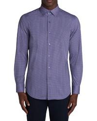 Bugatchi Ooohcotton Tech Diamond Print Knit Button Up Shirt