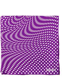 Tom Ford Stretch Dot Print Pocket Square Purple