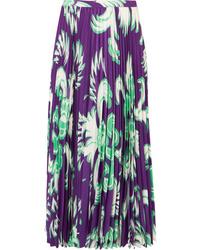 Valentino Pleated Printed Silk Midi Skirt