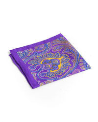 Black Brown 1826 Paisley Print Silk Pocket Square