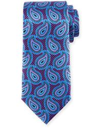 Ermenegildo Zegna Large Paisley Pines Printed Silk Tie Purple