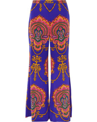 Gucci Printed Silk De Chine Wide Leg Pants