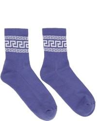 Versace Blue Greca Socks