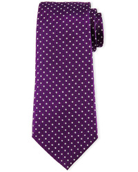 Armani Collezioni Neat Circle Dot Printed Tie Purple