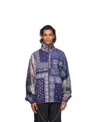 Neighborhood Navy And Purple Bandana Track Jacket