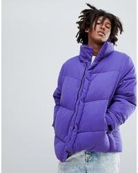 ASOS DESIGN Oversized Puffer Jacket In Purple