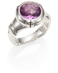 John Hardy Bamboo Amethyst Sterling Silver Small Round Ring