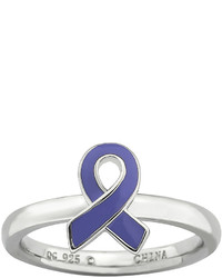 jcpenney Fine Jewelry Personally Stackable Sterling Silver Purple Enamel Awareness Ribbon Ring