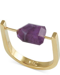 French Connection Gold Tone Purple Stone U Ring