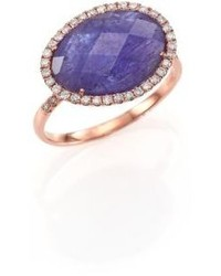 Mother of Pearl Meira T Tanzanite Mother Of Pearl Diamond 14k Rose Gold Doublet Ring