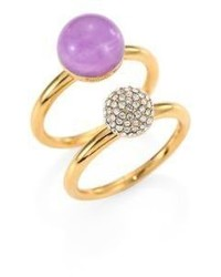 Michael Kors Michl Kors Summer Rush Stacked Amethyst Pave Rings