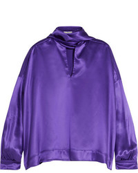 Balenciaga Pussy Bow Silk Satin Blouse Purple