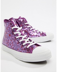 Converse Chuck Taylor Hi Purple Sequined Trainers