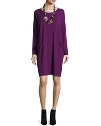 Eileen Fisher Long Sleeve Knee Length Jersey Shift Dress Petite