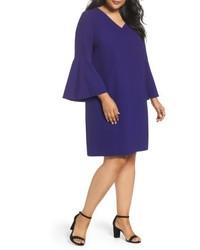 Tahari Plus Size Bell Sleeve Crepe Shift Dress