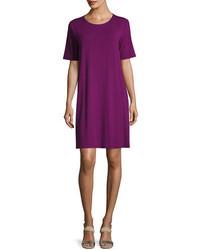 Eileen Fisher Round Neck Jersey Shift Dress