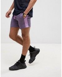 Asos Slim Runner Shorts With Contrast Side Stripe In Purple