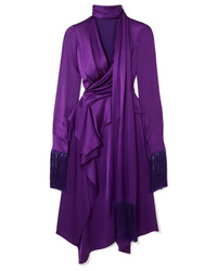 Alexander McQueen Fringed Cutout Silk Satin Midi Dress