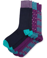 Neiman Marcus Three Pair Sock Set Purpleturquoisenavy