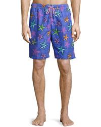 Peter Millar Deep Sea Galaxy Starfish Print Swim Trunks Purple Pattern