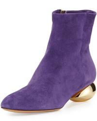 Valentino Metal Heel Suede Bootie Purple