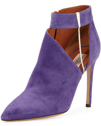 Valentino Suede Chain Pointed Toe Bootie Purple