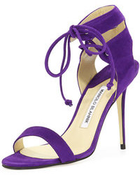 Manolo Blahnik Laramod Suede Ankle Wrap Sandal Purple