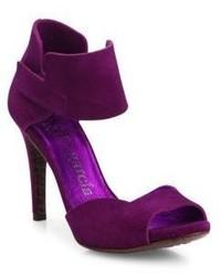Pedro Garcia Swan Suede Peep Toe Ankle Strap Sandals