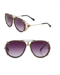 Roberto Cavalli 57mm Tigers Eye Leather Aviator Sunglasses