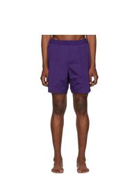 AMI Alexandre Mattiussi Purple Logo Long Swim Shorts