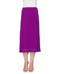 Victoria Beckham Textured Seersucker Pencil Skirt Plum