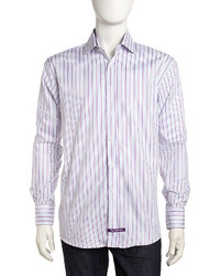 Violet Vertical Striped Dress Shirt