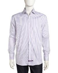Violet Vertical Striped Dress Shirt