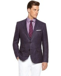 Hugo Boss Noris Slim Fit Italian Hemp Virgin Wool Sport Coat Open Purple