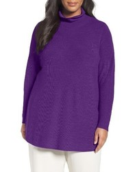 Eileen Fisher Plus Size Fine Rib Merino Turtleneck Tunic