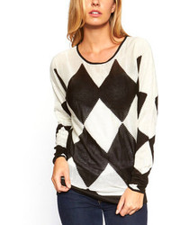 Black white sheer argyle sweater medium 102871