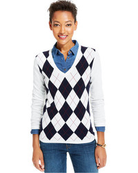 Tommy Hilfiger V Neck Argyle Sweater