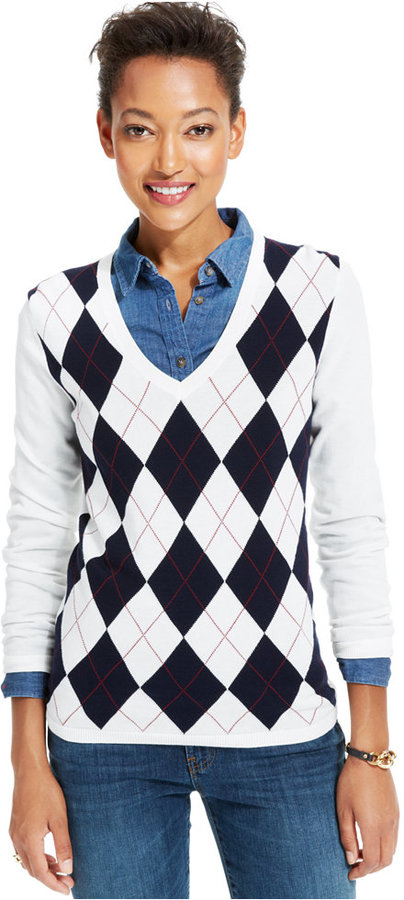 Tommy Hilfiger V Neck Argyle Sweater   Where to buy & how to wear