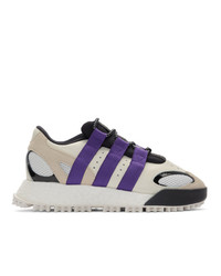 Adidas Originals By Alexander Wang Off White And Purple Wangbody Run Sneakers