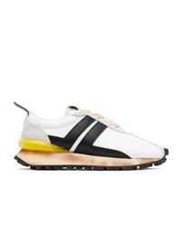 Lanvin White And Black Bumpr Sneakers