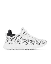 Givenchy White And Black Refracted Logo Spectre Runner Sneakers