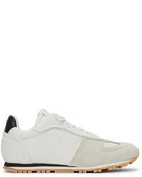 Maison Margiela White Black Leather Runner Sneakers