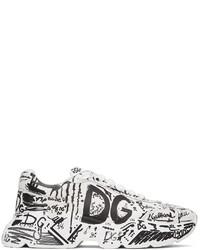 Dolce & Gabbana White Daymaster Graffiti Sneakers
