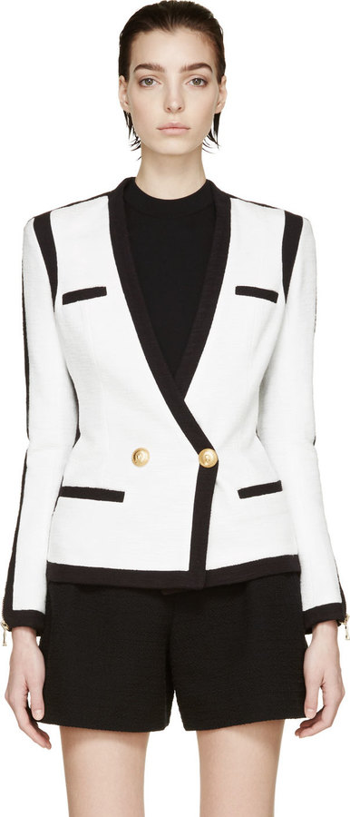 Balmain Black White Woven Colorblock Blazer Where To Buy How To Wear