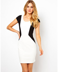 White and Black Bodycon Dress