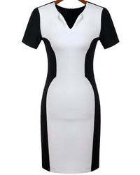 Black White V Neck Slim Bodycon Dress