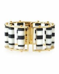 Striped hinge barrel slider bracelet blackwhite medium 3650293