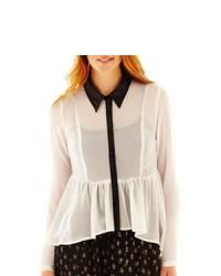 OLSENBOYE Contrast Button Front Blouse Vanilla Wblack