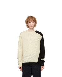 Neil Barrett Off White And Black Cable Knit Asymmetric Sweater