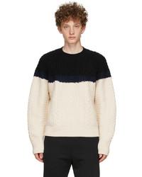 Alexander McQueen Off White Black Aran Knit Bi Color Sweater